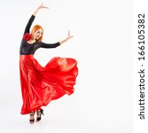 woman traditional dancer... | Shutterstock . vector #166105382
