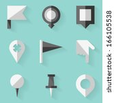 flat icon set. push pin map....