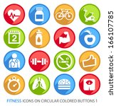 fitness icons on circular... | Shutterstock .eps vector #166107785