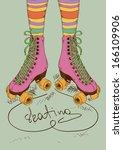 illustration with girl's legs... | Shutterstock .eps vector #166109906