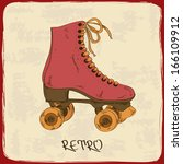 illustration with retro roller... | Shutterstock .eps vector #166109912