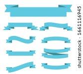 light blue ribbon banners set.... | Shutterstock .eps vector #1661116945