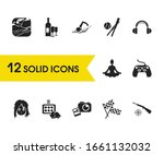activity icons set with nature  ...
