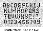 abstract font. black and white... | Shutterstock .eps vector #166115162