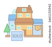 sold houses dollar icon. simple ...