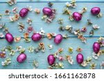 pink easter eggs and spring... | Shutterstock . vector #1661162878