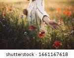 Woman In Rustic Dress Gathering ...