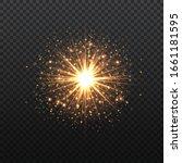 transparent golden glow light... | Shutterstock .eps vector #1661181595