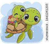 cute cartoon water turtles... | Shutterstock .eps vector #1661241205