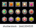 set of gems on stones of...