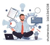 business man meditating and...   Shutterstock .eps vector #1661364238