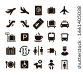 airport icons set. arrival ...   Shutterstock .eps vector #1661405038
