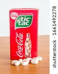 Small photo of Pruszcz Gdanski, Poland - March 2, 2020: Box of limited edition Tic Tac with Coca-Cola and Tic Tacs with Coca-Cola flavoured.
