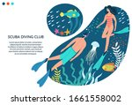 scuba diving club vector banner ... | Shutterstock .eps vector #1661558002