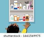 child reaching for a dangerous... | Shutterstock .eps vector #1661569975