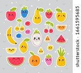 cute hand drawn kawaii tropical ... | Shutterstock .eps vector #1661595685