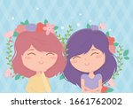 happy women flowers in hair...   Shutterstock .eps vector #1661762002