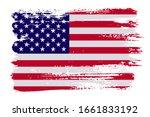 grunge  american flag.vector... | Shutterstock .eps vector #1661833192