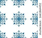 Blue Mandala Flower Seamless...