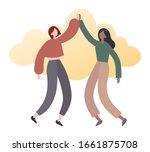 Modern Women Giving High Five....