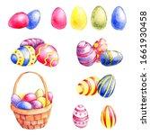 watercolor drawing easter set ...   Shutterstock . vector #1661930458
