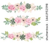 vector drawing rose flowers and ...   Shutterstock .eps vector #1661952598