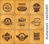set of vintage bakery or bread... | Shutterstock .eps vector #166201805