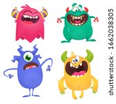 cute cartoon monsters. set of... | Shutterstock . vector #1662038305
