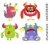 cute cartoon monsters. set of... | Shutterstock . vector #1662038308
