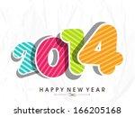 happy new year 2014 celebration ... | Shutterstock .eps vector #166205168