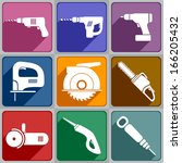 set of of electric tools icons... | Shutterstock .eps vector #166205432