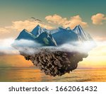 mountain island floating above... | Shutterstock . vector #1662061432