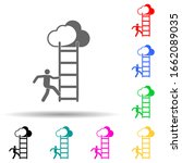 a man climbs the stairs multi...