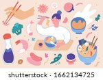 ramen illustrations set  woman... | Shutterstock .eps vector #1662134725