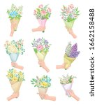 hands holding flower bouquets... | Shutterstock .eps vector #1662158488