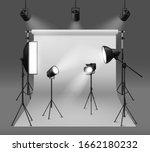 studio spotlights. realistic... | Shutterstock .eps vector #1662180232