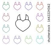 devil heart with 2 horns multi...