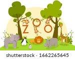 Zoo Animals  Cute Cartoon...