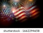 United States Flag. Fireworks...