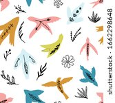 cute seamless pattern with hand ... | Shutterstock .eps vector #1662298648