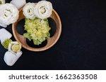 top view of hot stones setting... | Shutterstock . vector #1662363508