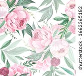 beautiful pink peonies with... | Shutterstock . vector #1662365182