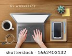 hands on the laptop. realistic... | Shutterstock .eps vector #1662403132