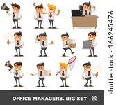 set of happy office man. vector ... | Shutterstock .eps vector #166245476