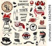 vintage bbq labels | Shutterstock .eps vector #166246598