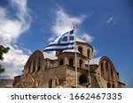 Greek Flag Waving In The Wind...