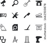 instrument vector icon set such as: high, agriculture, watching, surgeon, spyglass, heart, ladder, scoop, electrical, screen, laboratory, listen, plastic, sterilized, stationery, renovation