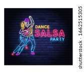 Salsa Dance Party Neon Banner...