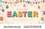happy easter card or banner... | Shutterstock .eps vector #1662530428