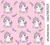 unicorn pattern with pastel... | Shutterstock .eps vector #1662583525